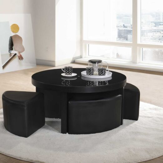 E-CT ROUND COFFEE TABLE + GLASS + 4 STOOL