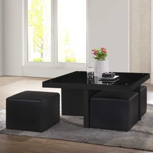 E-CT COFFEE TABLE + GLASS + 4 STOOL