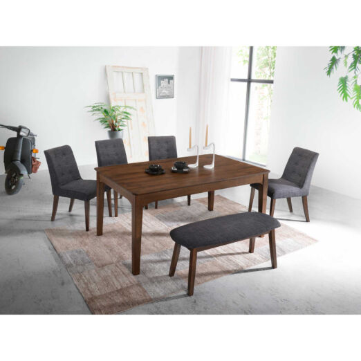 Scandinavian SET: 1 TABLE+1 BENCH+4 CHAIRS