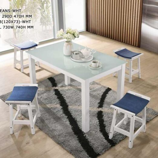 Tempered Glass Top Dining Set (Dining Table + 4 Dining Stools)